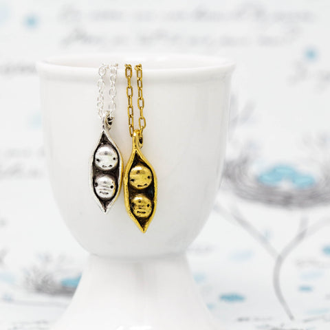 Two Peas in a Pod Pendant Necklace - Perfect For Siblings, Best Friends, Families, Mothers, Grandmothers - Jacaranda