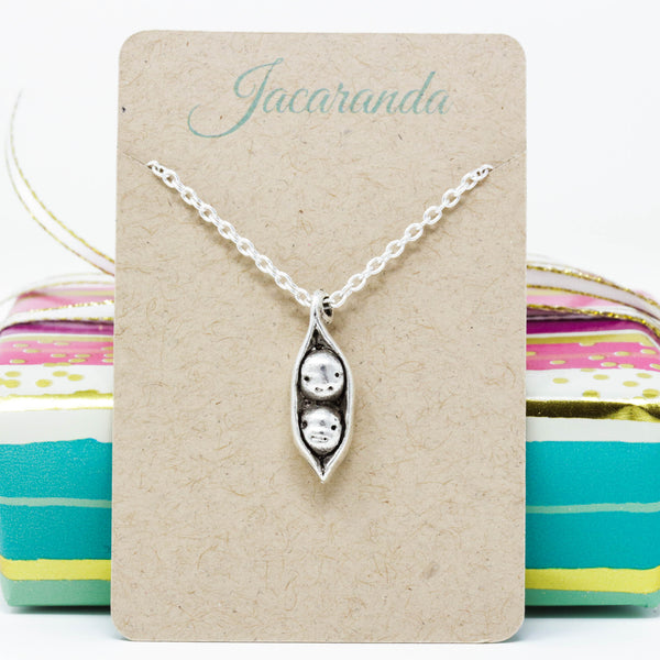 Gift for Mom, Perfect For Siblings, Best Friends, Families, Mothers, Grandmothers - Two Peas in a Pod Pendant Necklace - Jacaranda