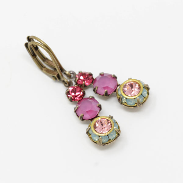 Magenta Pink and Mint Green Jewel Earrings With Pink Crystals Set in Brass - Jacaranda