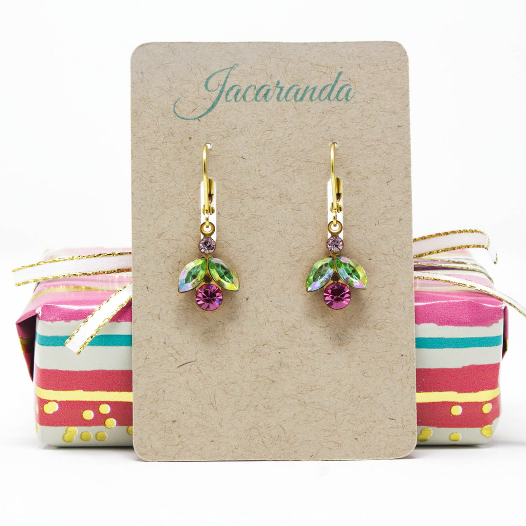Petal Rhinestone Earrings in Green and Rose Pink - Jacaranda