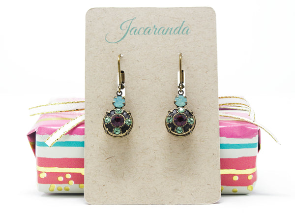 Peridot Green and Amethsyt Purple Swarovski Crystal Dangle Earrings in Antique Brass - Jacaranda