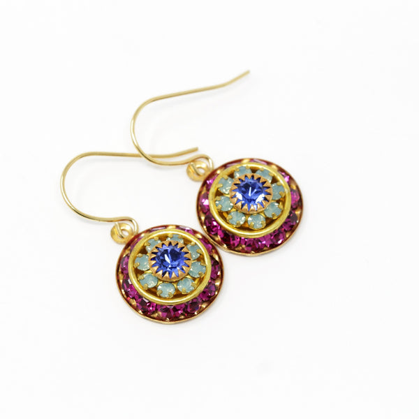 Vintage Swarovski Round Crystal Dangle Earrings - Pink, Mint Green and Purple - Jacaranda