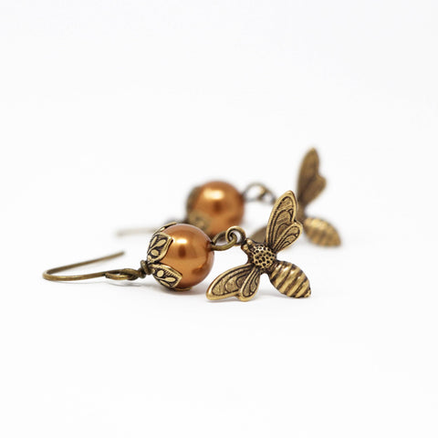 Copper Pearl Honey Bee Earrings