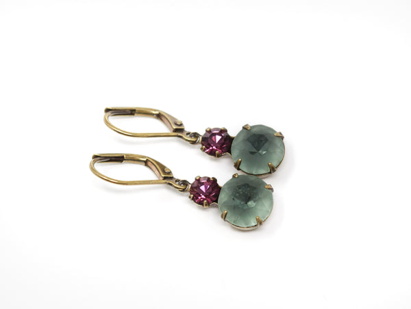 Smokey Green and Plum Vintage Glass Earrings With Leverback Earwires - Jacaranda