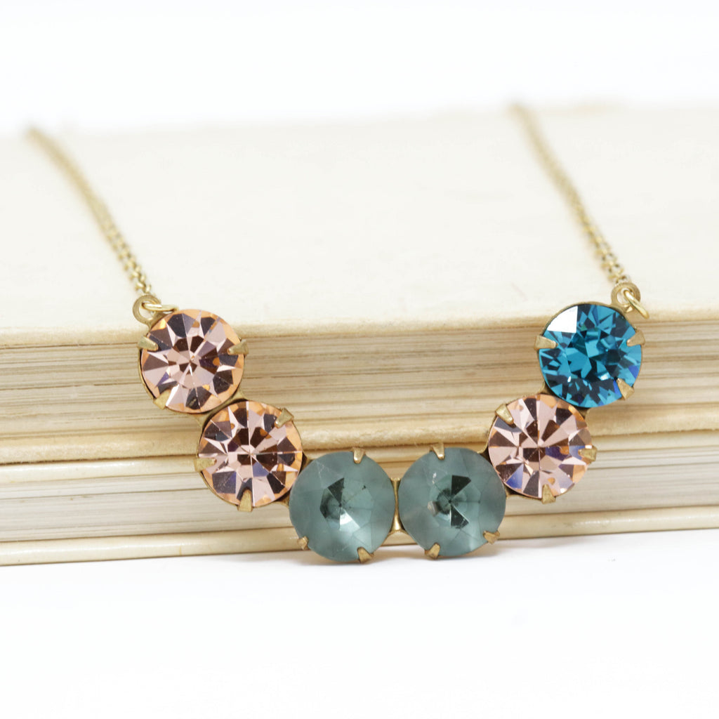 Vintage Swarovski Crystal Crescent Necklace - Peach, Smokey Green and Teal Stones - Jacaranda