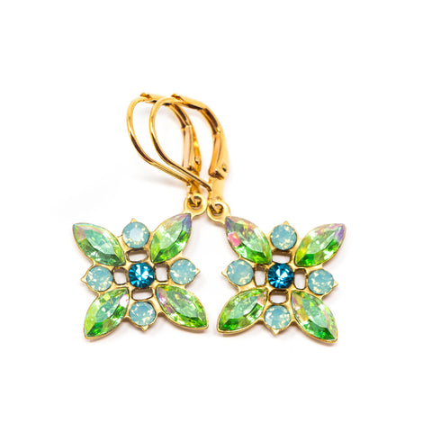 Vintage Green Starburst Earrings