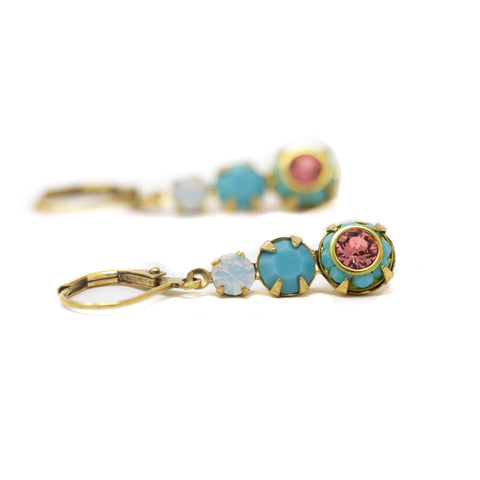 Turquoise Jewel Earrings With Pink Crystals Set in Brass - Jacaranda