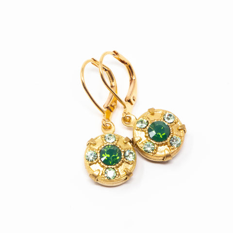 Green Vintage Crystal Dangle Earrings