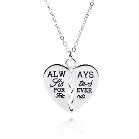 Always Sisters Forever Friends Heart Pendant