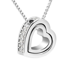 Gold or White Gold Double Heart Pendant