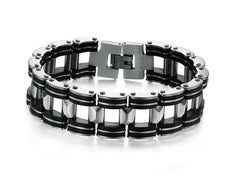 Black Strip Men's Stainless Steel Bracelet