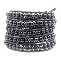 Black on Black Pearl Wrap Bracelet