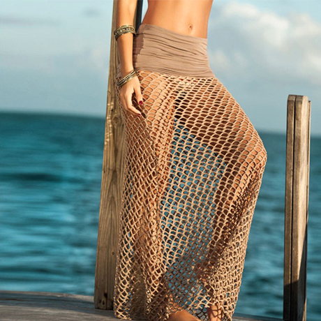 Bohemian Hollow Out Mesh Maxi Skirt