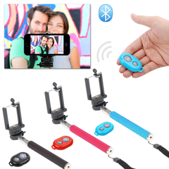 Selfie Stick With Remote Bluetooth Shutter Button - Assorted Colors - BoardwalkBuy - 3