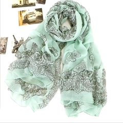 Chiffon Porcelain Style Scarf and Shawl - Assorted Colors - BoardwalkBuy - 7