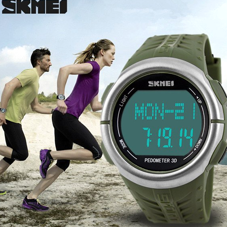 Skmei 1058 LED Sports Watch With 3D Pedometer and Heart Rate Monitor