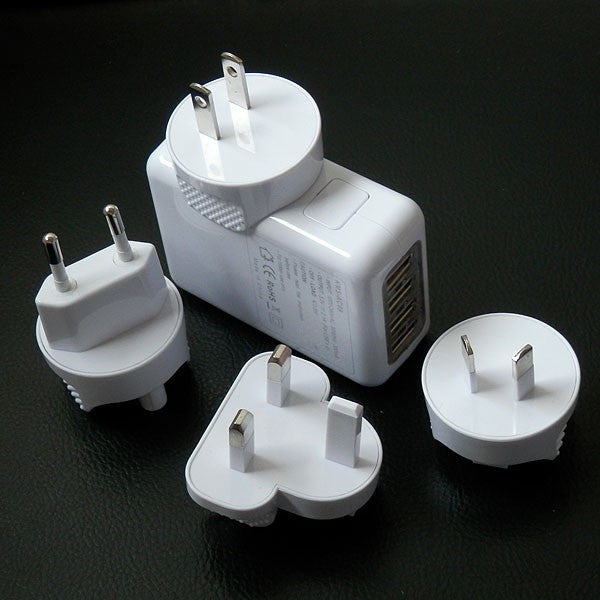 Four Port Travel Adapter With Four Plugs