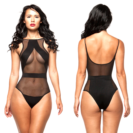 Mesh Splicing Sleeveless Open-Back Black One Piece Swimsuit