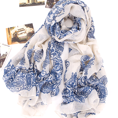 Chiffon Porcelain Style Scarf and Shawl - Assorted Colors - BoardwalkBuy - 3