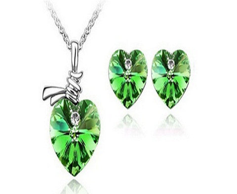 Heart Shape Gemstone Jewelry Set - Assorted Colors