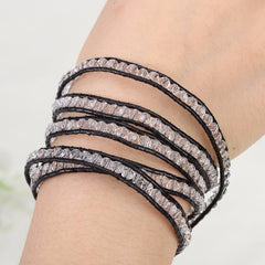 Black on Clear Crystal Wrap Bracelet