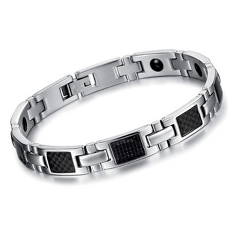 Silver on Black Stainless Steel Men's Bracelet