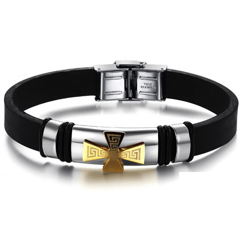 Golden Cross Stainless Steel Men's Bracelet