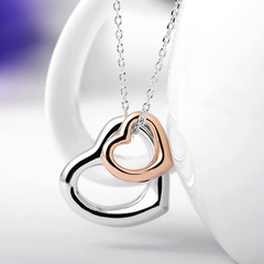 Double Heart Gold-Silver Overlay Pendant