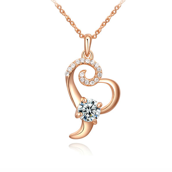 CZ Crystal Floral Heart Pendant