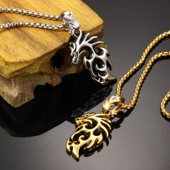 Gold Plated Stainless Steel Vintage Dragon