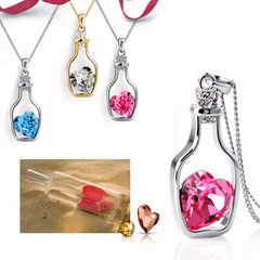 Love Bottle Gemstone Pendant Necklace