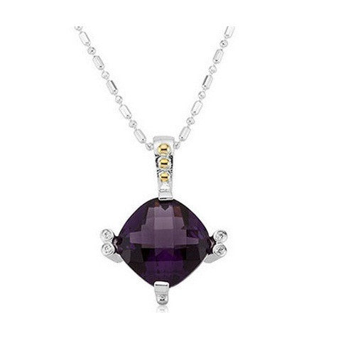 "Lavale Silver Overlay 5ct Cushion Amethyst Tone with White Side Stones Pendant 18"" Chain"