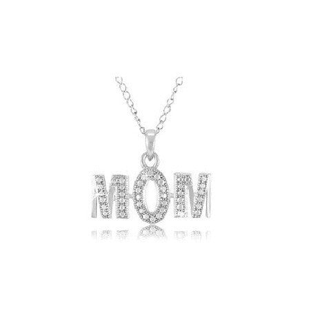 "Sterling Silver Diamond Accent  MOM Pendant with 18"" Chain"