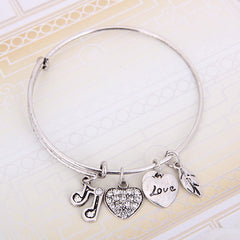 Music Note Charm Bangle - Gold or Silver