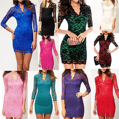 Lovely 3/4-Sleeved V-Neck Lace Dress - Assorted Colors