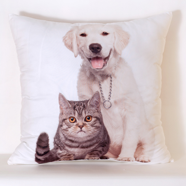 Dog and Cat Pillow Cover