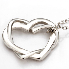 Silver Crystal Double Heart Necklaces