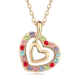 Florence Crystal Hanging Double Heart Pendant