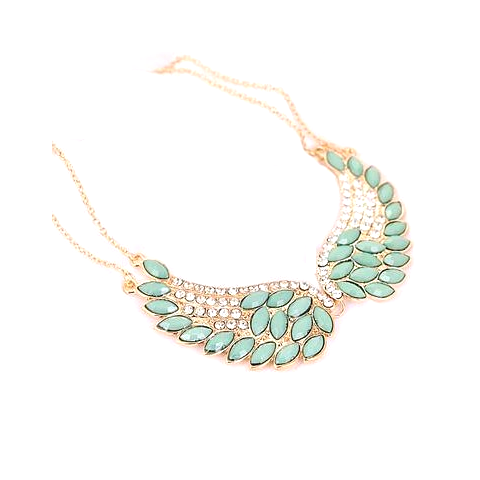 Turquoise Beads Angel Wing Statement Necklace