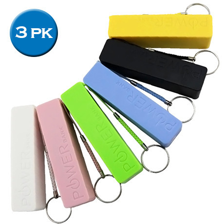 3 Pack - Backup Keychain Charger - Assorted Colors