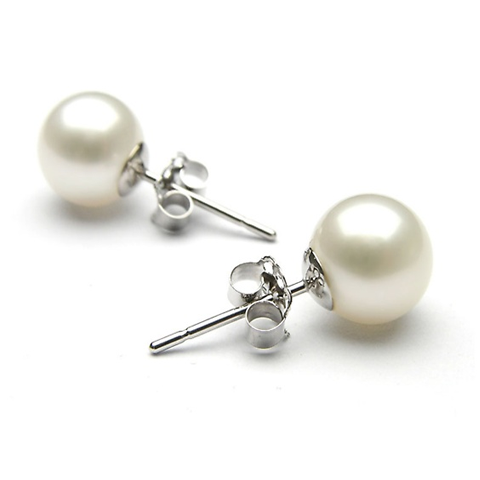 18K White Gold Pearl Earrings
