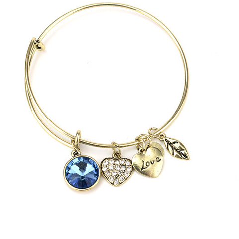 December Birthstone Charm Bangle