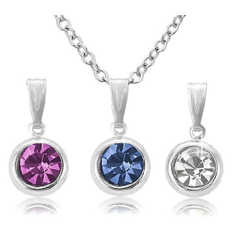 Pink, Blue, and White  Crystal Pendant