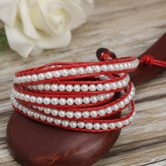 White Pearl on Red Leather