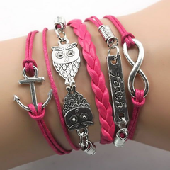 Double Owl Infinity anchor bracelet