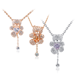 Little Bear Crystal Pendant Necklace
