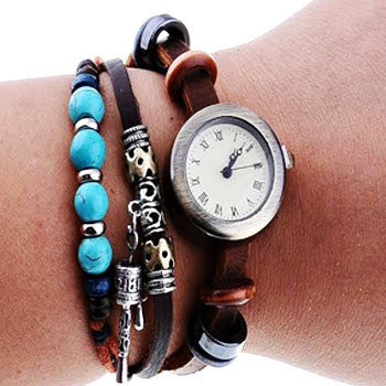 Turquoise Beads Leather Watch