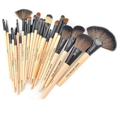 24-Piece Set: Professional Makeup Brush Kit with Roll-Up Carrying Case - Assorted Colors
