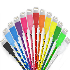 10 Feet Fiber Cloth Cable for iPhone 5 & 6 - Assorted Colors