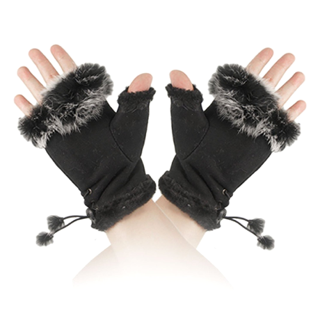 Women's Faux Fur Trim Fingerless Gloves